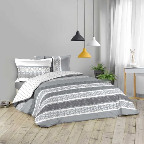 Geola Striped Duvet Cover Set - Grey White: King