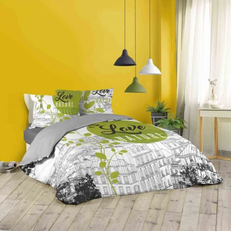 Green Paris Cityscape Nature Duvet Cover Set - Green Multi: King