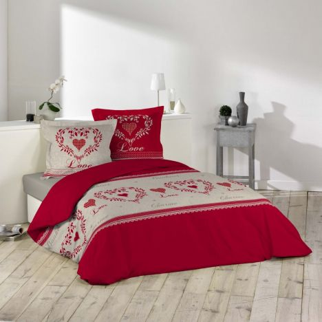 Home Love Hearts Floral Duvet Cover Set - Red Multi: Super King