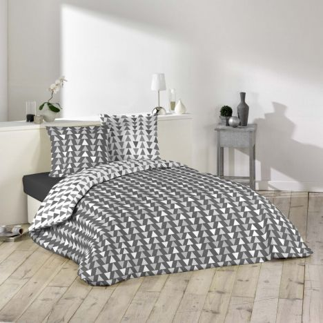 Imany Arrows Duvet Cover Set - Grey White: King
