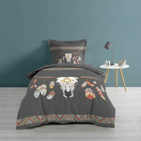 Indian Folk Ethnic Animal Duvet Cover Set - Grey Multi: Single
