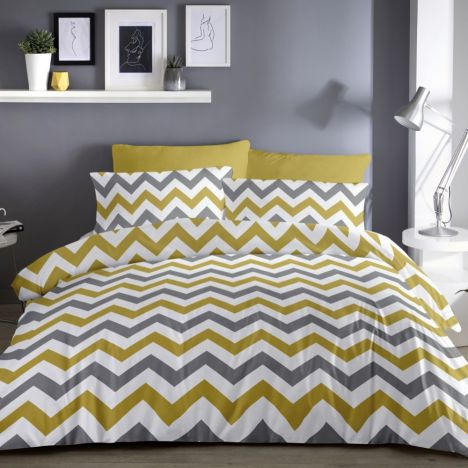 Chevron Zig Zag Duvet Cover Set - Ochre Yellow