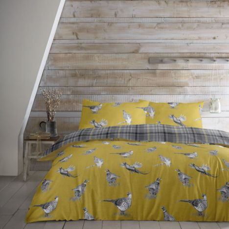Pickering Birds 100% Brushed Cotton Duvet Cover Set - Ochre Yellow