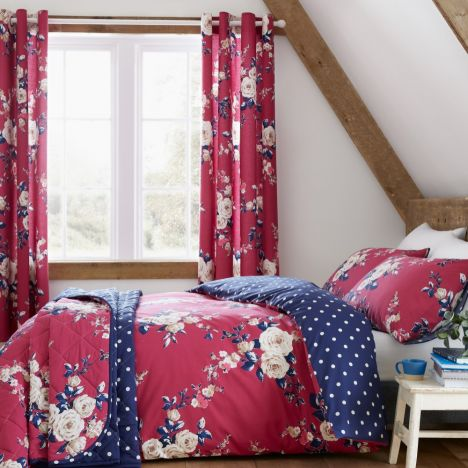 Catherine Lansfield Canterbury Floral Duvet Cover Set - Plum Purple