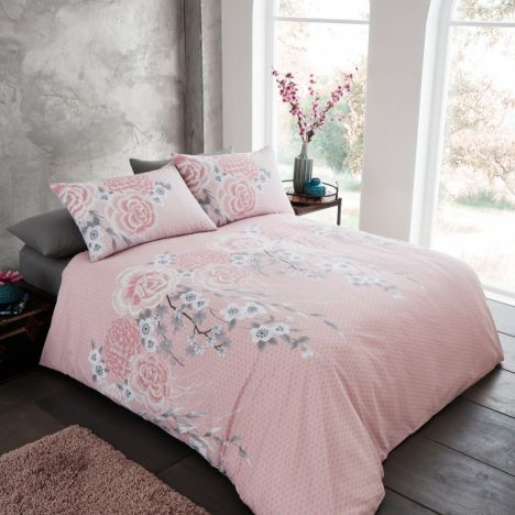 Catherine Lansfield Oriental Blossom Duvet Cover Set - Blush Pink