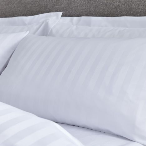 Catherine Lansfield So Soft Stripe Oxford Pillowcase Pair - White