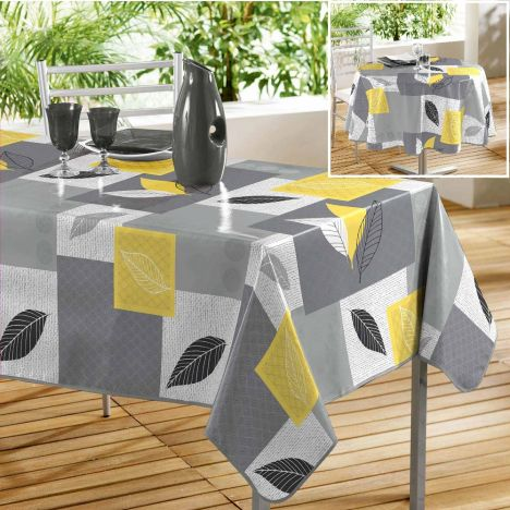 Soria PVC Tablecloth - Grey & Yellow