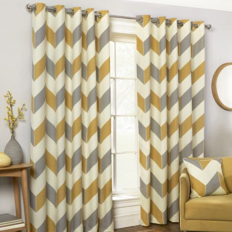 Zig Zag Chevron Fully Lined Eyelet Curtains - Ochre Yellow Grey