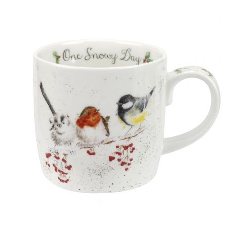 Wrendale One Snowy Day Birds Mug