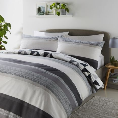 Hendra Reversible Duvet Cover Set - Grey