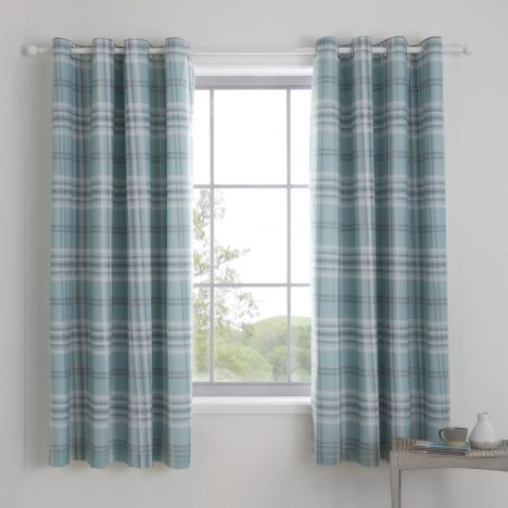 Catherine Lansfield Kelso Check Fully Lined Eyelet Curtains - Mint Blue