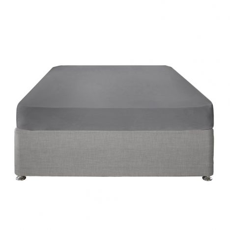 Serene Plain Dye Easy Care Extra Deep Fitted Sheet - Charcoal