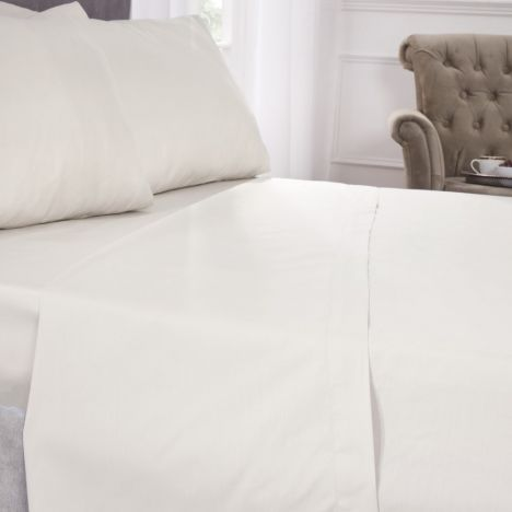 180 Thread Count Percale Plain Fitted Sheet - Ivory