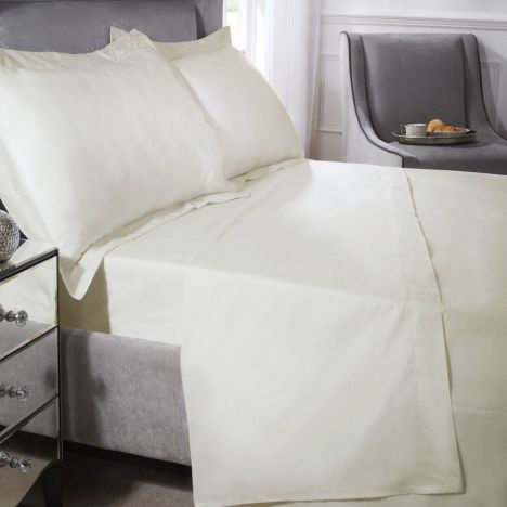 200 Thread Count Luxury Egyptian Cotton Flat Sheet - Cream