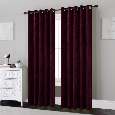 Plain Chenille Fully Lined Eyelet Curtains - Plum Purple