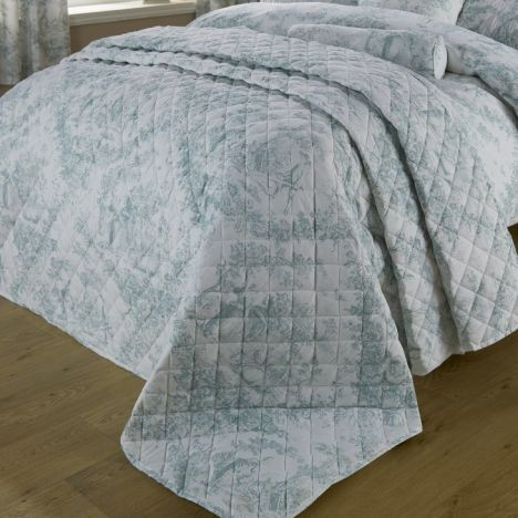 Toile De Jouy Vintage Quilted Bedspread - Green