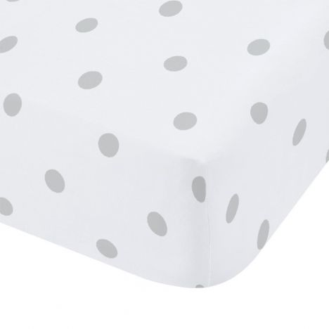 Catherine Lansfield Dotty Brushed Cotton Fitted Sheet - Grey