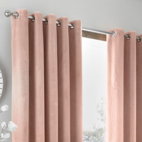 By Caprice Brigitte Fur Faux Fully Lined Eyelet Curtains - Blush Pink