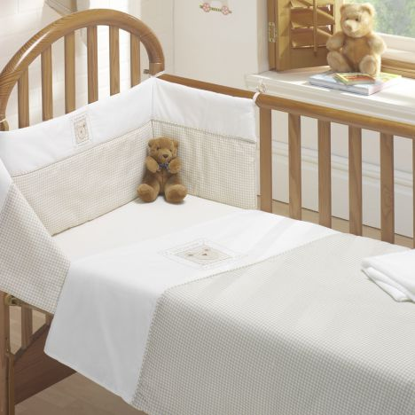 Bedtime Bear Cot Bed Quilt and Bumper Set - Beige