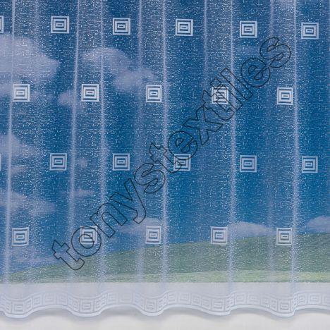 "Square Pattern White Net Curtain: 36"" Drop"