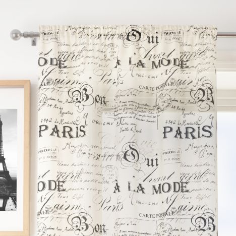 Paris Script Cream Voile Curtain Panel Tony S Textiles