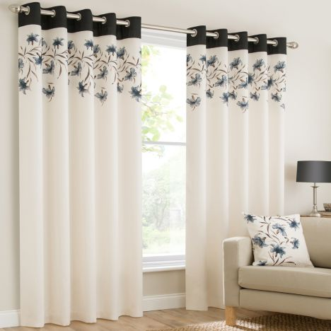 Lily Floral Ring Top Eyelet Fully Lined Curtains - Black