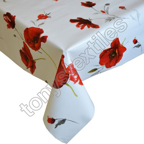 Poppies Plastic Tablecloth Wipe Clean Pvc Vinyl