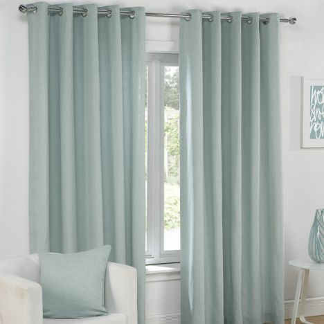 Plain Belmont Duck Egg Blue Eyelet Ring Top Fully Lined Curtains