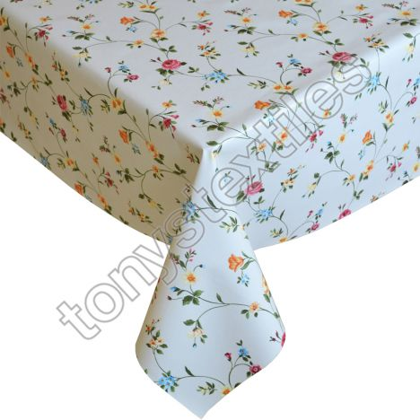 Floral Red Plastic Tablecloth Wipe Clean Pvc Vinyl