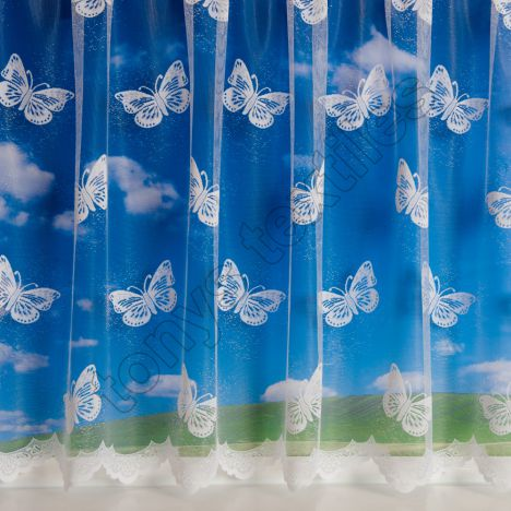 "Large Butterfly 4810 White Net Curtain: 36"" Drop"