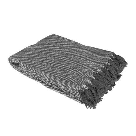 100 Cotton Como Throw Grey Tonys Textiles