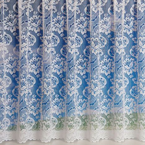 """Canterbury Lace Luxury Heavy Weight White Net Curtain: 36"""" Drop"""
