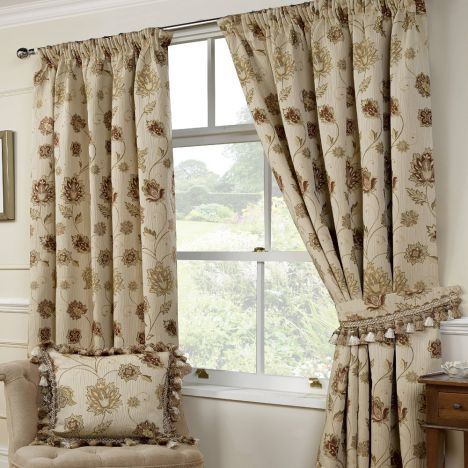 Portofino Floral Woven Tapestry Fully Lined Curtains- Natural