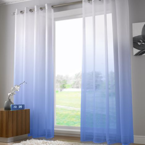 Harmony Modern Ring Top Voile Curtain Panel - Sky Blue