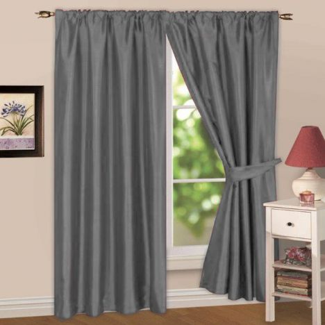 Faux Silk Lined Tape Top Curtains - Silver