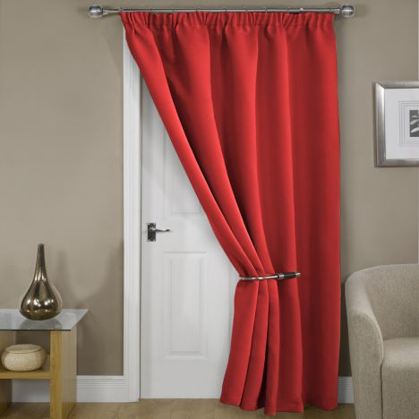 Thermal Supersoft Blackout Door Curtain Red