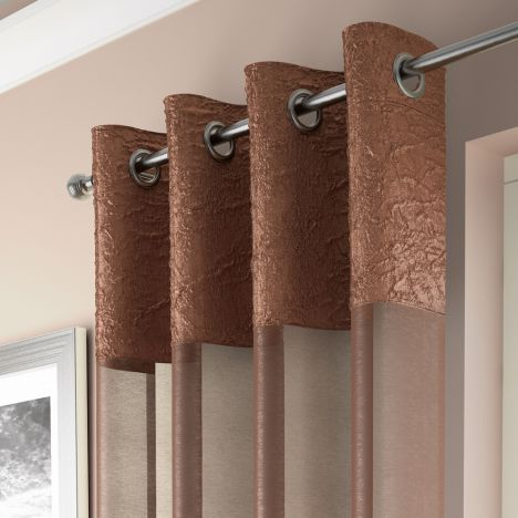 Elegant Madeira Ring Top Voile Curtain Panel - Copper