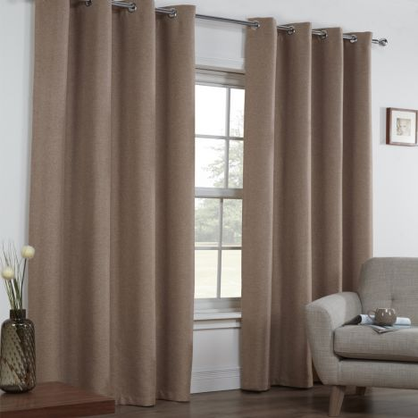 Linen Look Textured Thermal Blackout Ring Top Curtains - Mocha Oatmeal
