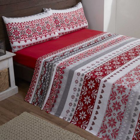 Fairisle 100% Brushed Cotton Flannelette Sheet Set - Red