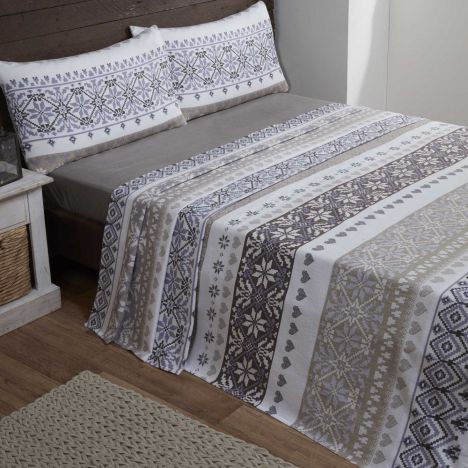 Fairisle | 100% Cotton | Flannelette | Natural | Sheet Set ...
