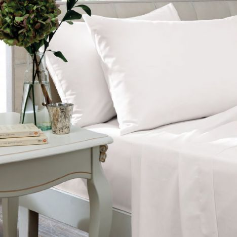 Catherine Lansfield Non Iron Percale Combed Polycotton Flat Sheet - White