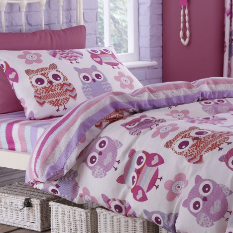 Catherine Lansfield Pink Owls Cotton Rich Fitted Sheet
