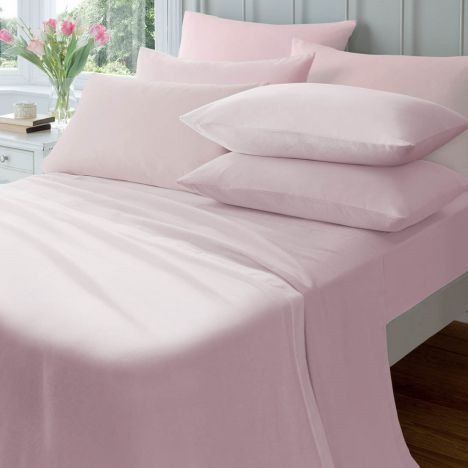 Catherine Lansfield Pair of 145gsm Plain Dyed Flannelette Pillowcases - Pink