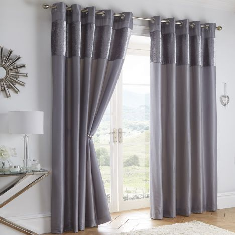 Boulevard Velvet Border Fully Lined Ring Top Curtains - Silver Grey
