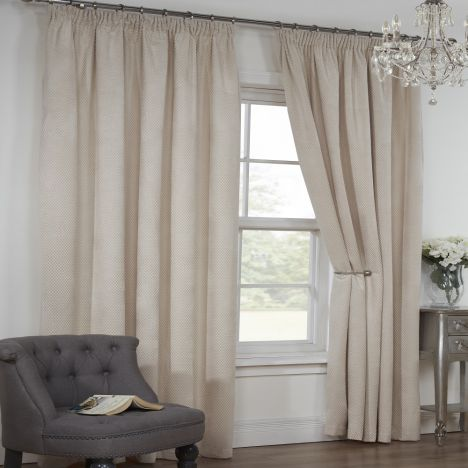 Colorado Waffle Chenille Effect Lined Tape Top Curtains - Natural