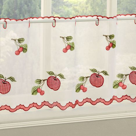 Winchester Gingham Café Net Panel - Red
