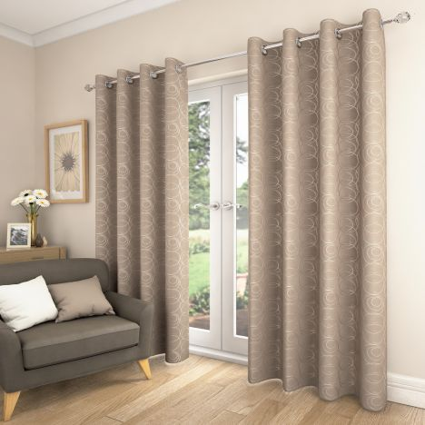 Saturn Fully Lined Eyelet Curtains - Natural