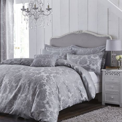 Jacquard Damask Duvet Cover Set - Silver