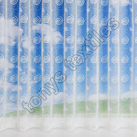 """Mirage Swirls White Net Curtain: 36"""" Drop"""