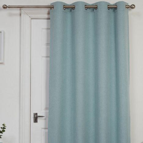 Exceptionnel Self Lined Thermal Blackout Linen Look Ring Top Door Curtain   Duck Egg Blue
